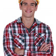 Smiling construction worker — Stockfoto