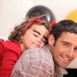 Father and little girl celebrating Halloween — Stock Photo