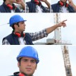 Stock Photo: Building site manager working
