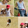 Two children playing in a wheat field - Stock Photo