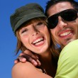 Couple hugging outdoors — Foto Stock