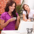 Two woman in restaurant — Stock Photo