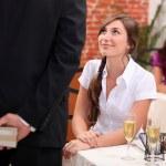 Man woman waiting at restaurant — Stock Photo #8777810