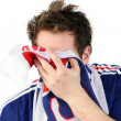 Downcast French football fan — Stock Photo