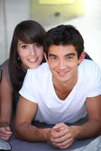 Portrait of teenage couple — Stock Photo