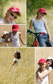 Two children playing in a wheat field — Stock Photo