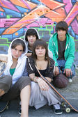 Teen skaters — Stock Photo
