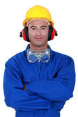 Portrait of a well-protected tradesman — Stock Photo