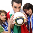 Three Italian football supporters — Foto Stock