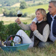 Man and woman tasting wine in a vineyard — Stock Photo #8783931