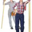 Stock Photo: Two female carpenter