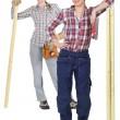 Two female carpenter — Stock Photo