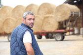 Farmer verifying stock — Stock Photo
