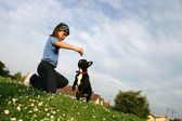 Little girl in a park with her dog — Stock Photo
