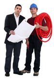 Architect and electrician — Stock Photo