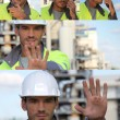 Mosaic craftsmtalking walkie talkie and making stop sign with his hand — Stock Photo #8797440
