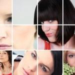 un collage de mujeres jóvenes y atractivas — Foto de Stock