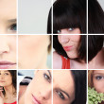 un collage di donne giovani e attraenti — Foto Stock