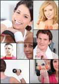 Mosaic of young adults at the gym — Stock Photo