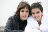 Two female in bad weather — Stock Photo