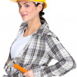 Stock Photo: Flirtatious brunette carpenter