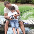 Father and son fishing — Foto Stock #8803252