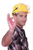 Builder suggesting everything is OK — Stock Photo