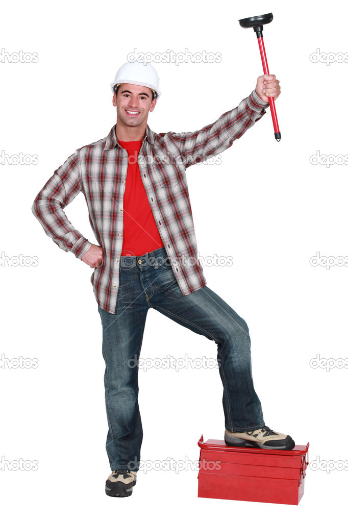 Man with a plunger — Stock Photo #8802151