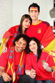 Group of Spanish supporters — Stock Photo