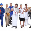 Ambitious workers from different industries — Stockfoto