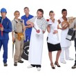 Stock Photo: Ambitious workers from different industries