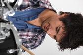 Man playing drum — Stock Photo
