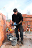 Man mixing cement — Stock Photo