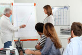 Employees looking a line chart — Stock Photo
