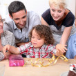 Parents and grandparents with a boy on his birthday — Stock Photo