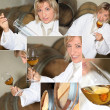 Stock Photo: Wine producer smelling wine in cellar, photomontage