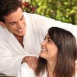 A couple in their bathrobes — Stock Photo #8911614