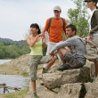Stock Photo: Group of hikers