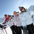Friends on skis — Stock Photo