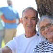 Relaxed older couple sitting in the shade of a tree on a summer's day - Stock Photo