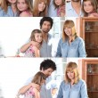 Collage of family portraits — Stock Photo