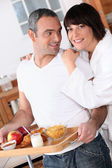 Portrait of a couple at breakfast — Stock Photo