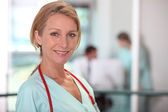 Female medic in a hospital — Stock Photo