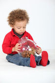 Little boy with recipient full of cookies — Stock Photo