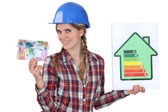 Woman holding money and energy rating card — Stock Photo
