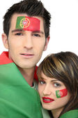 Dos aficionados al fútbol portugués — Stok fotoğraf