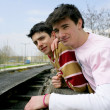 Foto Stock: Two teen boys outdoors