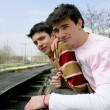 Foto de Stock  : Two teen boys outdoors