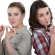 Women for and against smoking — Stock Photo #8921837