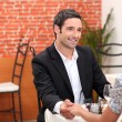 Romantic couple in restaurant — Stock Photo #8922815